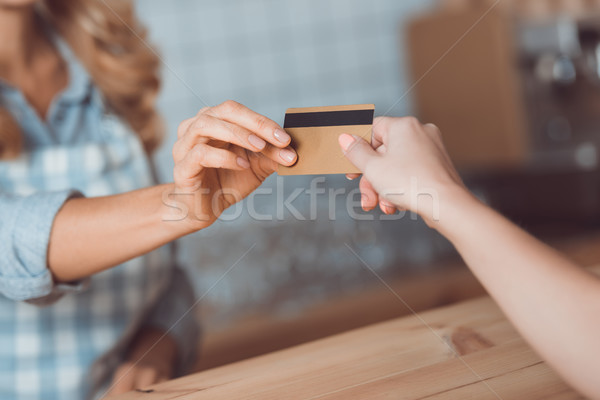 payment with credit card in cafe  Stock photo © LightFieldStudios