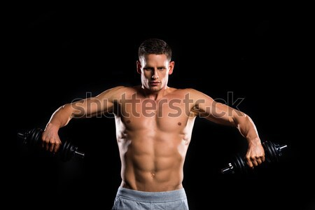 shirtless muscular asian man Stock photo © LightFieldStudios