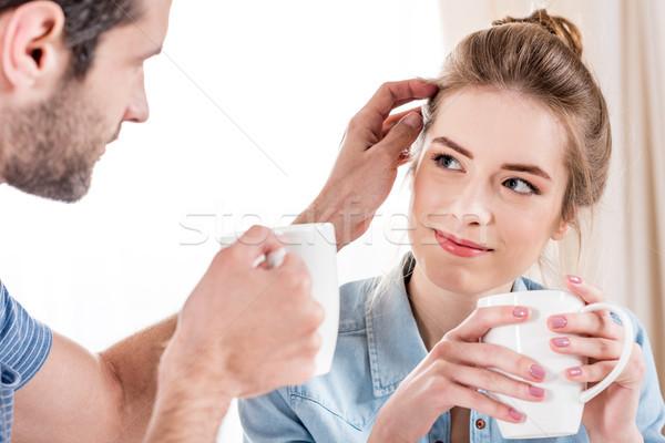 Paar drinken thee mooie samen Stockfoto © LightFieldStudios