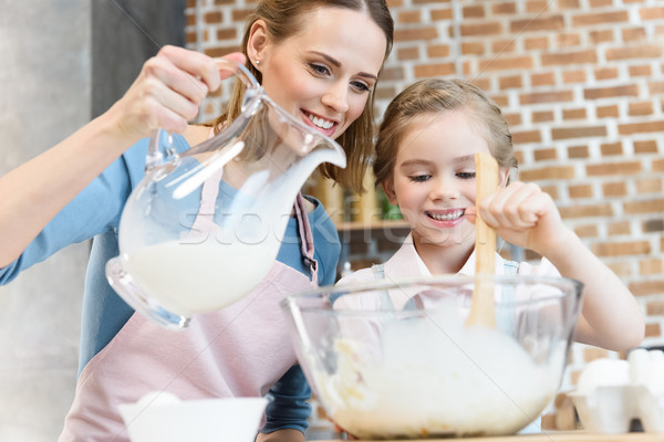 Happy mother and daughter mixing dough and pouring milk in glass bowl Stock photo © LightFieldStudios