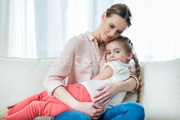 肖像 沈痛 母親 娘 座って ストックフォト © LightFieldStudios