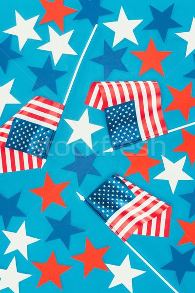 Superior vista estrellas americano banderas aislado Foto stock © LightFieldStudios