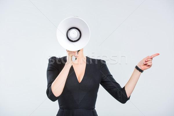 小さな 女性実業家 メガホン ポインティング サイド 白 ストックフォト © LightFieldStudios