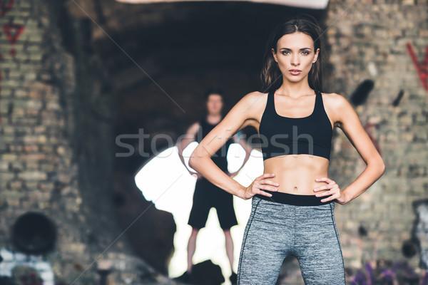 Młoda kobieta odzież sportowa selektywne focus stałego fitness lata Zdjęcia stock © LightFieldStudios