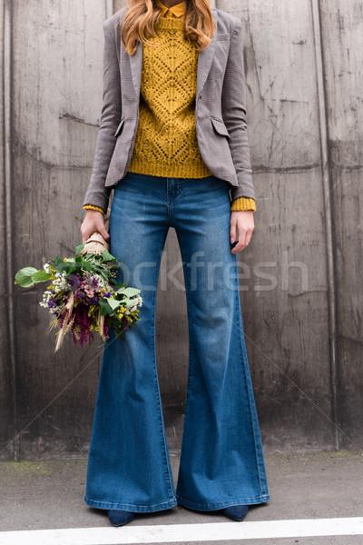 Nina ramo flores vista elegante elegante Foto stock © LightFieldStudios