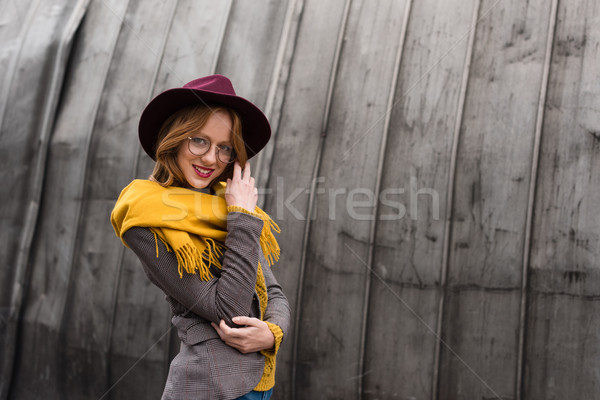 Kız şapka eşarp güzel şık Stok fotoğraf © LightFieldStudios