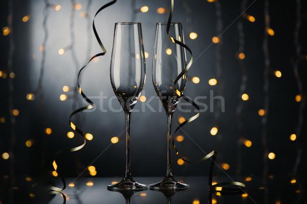 空っぽ ワイングラス 選択フォーカス 冬 ライト ストックフォト © LightFieldStudios