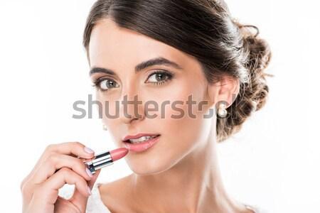 Bella donna rossetto ritratto labbra guardando fotocamera Foto d'archivio © LightFieldStudios