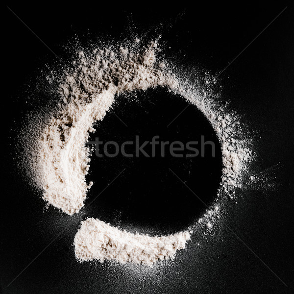 Topo ver farinha preto superfície comida Foto stock © LightFieldStudios