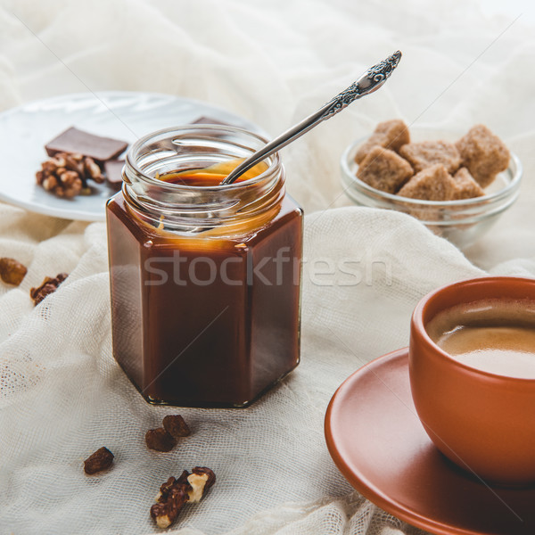 Appétissant jar confiture tasse café Photo stock © LightFieldStudios