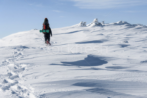 bottom view of man hiking snowy mountains, Carpathian Mountains, Ukraine Stock photo © LightFieldStudios