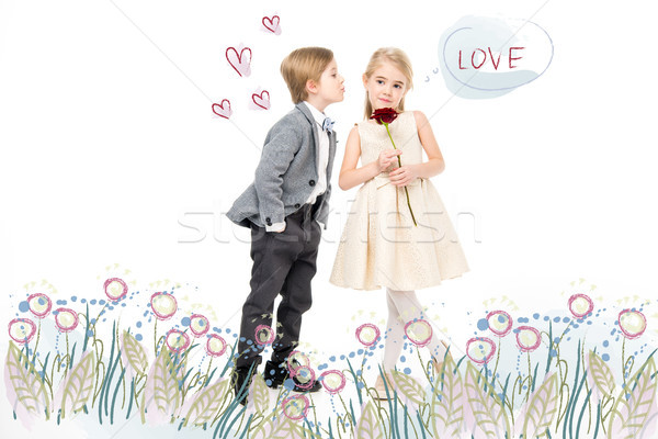 Happy young boy and girl Stock photo © LightFieldStudios