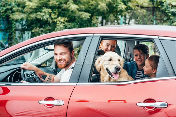 Stockfoto: Familie · auto · mooie · jonge · hond