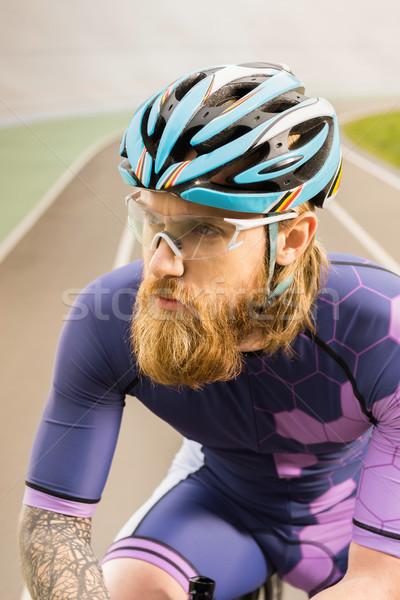 サイクリスト ヘルメット ゴーグル 肖像 沈痛 ストックフォト © LightFieldStudios
