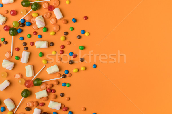 Halloween cukorkák felső kilátás színes jókedv Stock fotó © LightFieldStudios