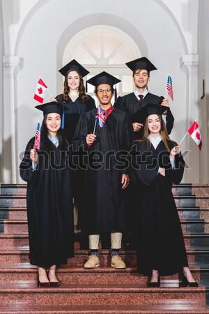 Stockfoto: Student · meisje · afstuderen · hoed · achteraanzicht