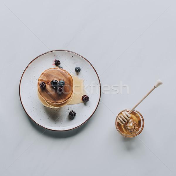Stockfoto: Top · zoete · eigengemaakt · pannenkoeken · honing