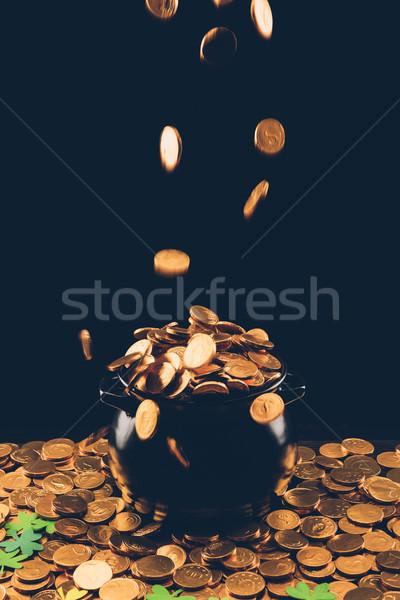 Or pièces relevant pot jour de St Patrick signe Photo stock © LightFieldStudios