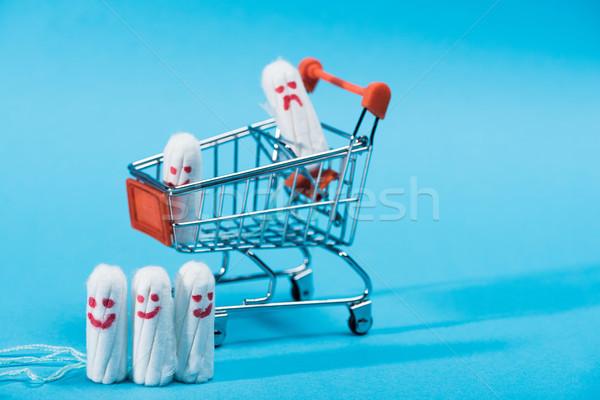 Boldog szomorú emotikonok kicsi bevásárlókocsi kék Stock fotó © LightFieldStudios