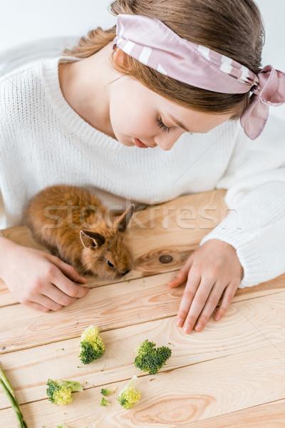 beautiful girl feeding cute furry rabbit with broccoli on wooden table   Stock photo © LightFieldStudios