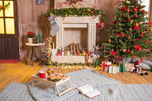 Stock fotó: Karácsony · sütik · forró · csokoládé · fából · készült · tálca · kényelmes