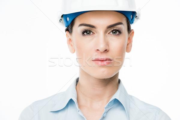Stockfoto: Vrouwelijke · architect · naar · camera · vrouw