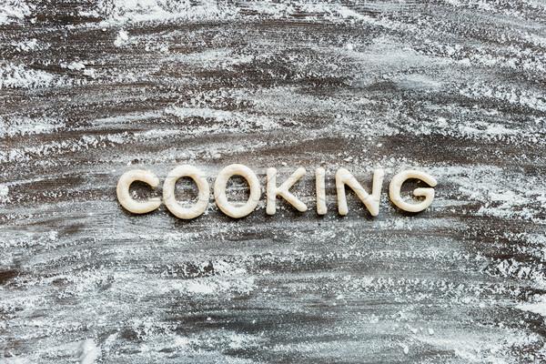 Top view parola cottura cookie farina Foto d'archivio © LightFieldStudios