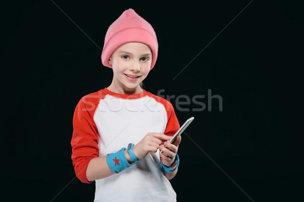 Menina corrida isolado preto Foto stock © LightFieldStudios