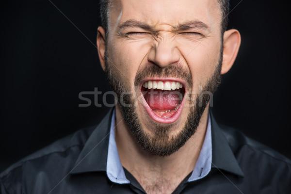 あごひげを生やした 男 悲鳴 クローズアップ 肖像 黒 ストックフォト © LightFieldStudios