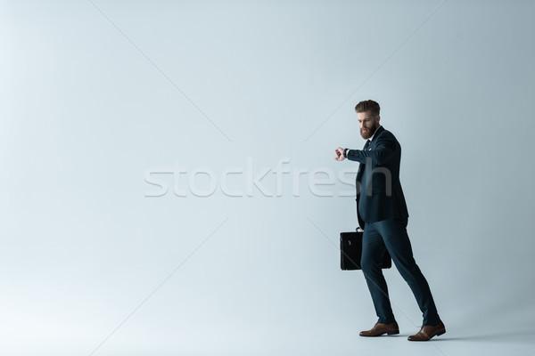 Foto stock: Elegante · barbudo · empresário · pasta · cinza