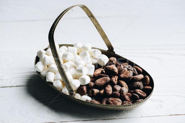 Cacao fèves guimauve vue sweet Photo stock © LightFieldStudios