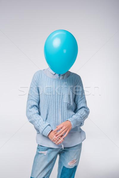 girl in blue with balloon Stock photo © LightFieldStudios