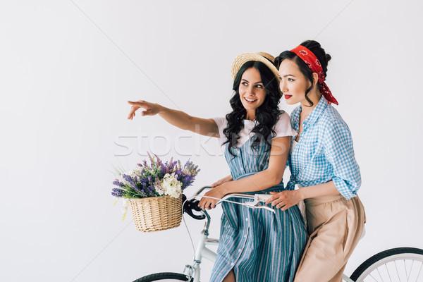 Multikulturális nők bicikli portré elegáns retro Stock fotó © LightFieldStudios