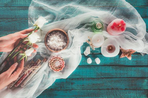 Foto d'archivio: Donna · decorazione · trattamento · termale · top · view