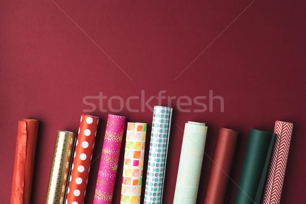 Tekercsek csomagolópapír színes születésnap tél ünnep Stock fotó © LightFieldStudios