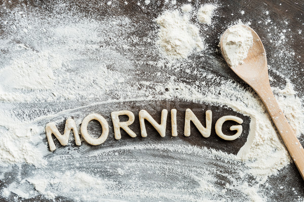 Top view of edible word morning made from sweet crunchy cookies, baking cookies concept Stock photo © LightFieldStudios