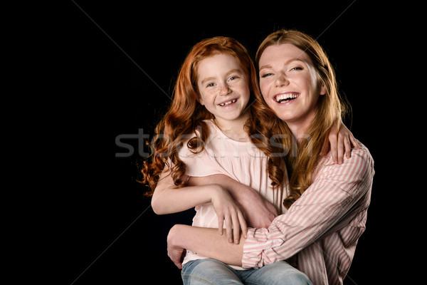 Stock fotó: Gyönyörű · boldog · anya · lánygyermek · ölel · mosolyog