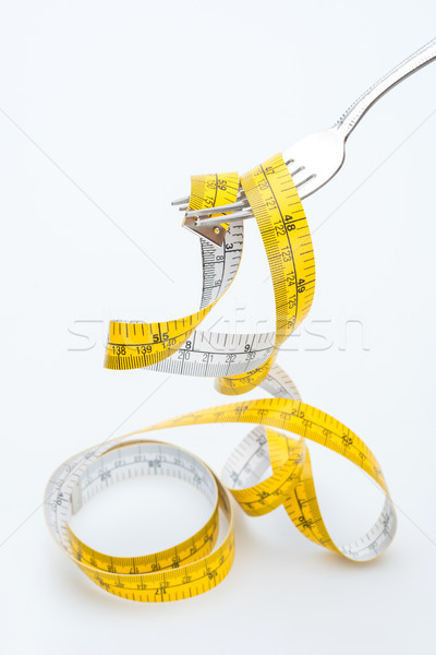 Meetlint vork geïsoleerd witte gezond leven eten Stockfoto © LightFieldStudios