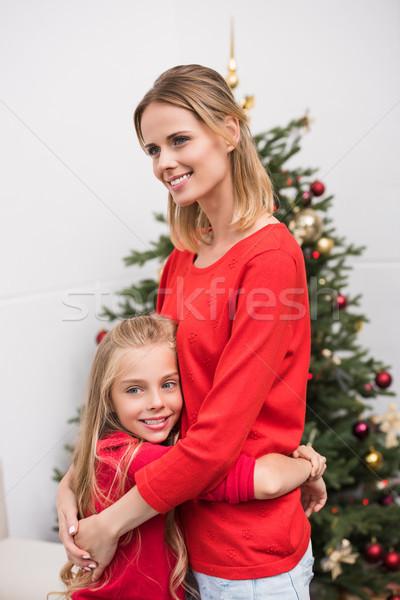 Stockfoto: Familie · kerstboom · gelukkig · moeder · dochter