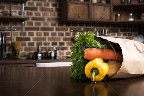 étel papírzacskó szelektív fókusz asztal konyha zöldségek Stock fotó © LightFieldStudios