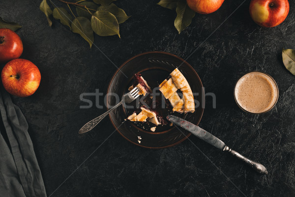 cut piece of apple pie on plate Stock photo © LightFieldStudios