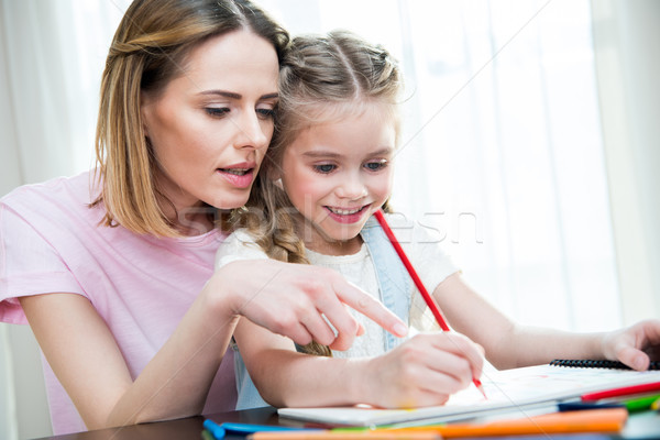 Smiling girl with mother drawing with pencil at home Stock photo © LightFieldStudios