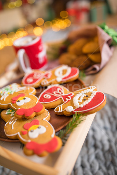 Christmas cookies warme chocolademelk houten Stockfoto © LightFieldStudios