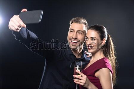 Retrato hombre feliz mujer regalo Foto stock © LightFieldStudios