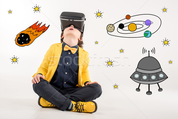 boy dreaming about space traveling  Stock photo © LightFieldStudios