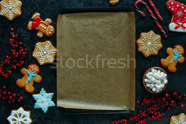 gingerbreads around baking tray Stock photo © LightFieldStudios