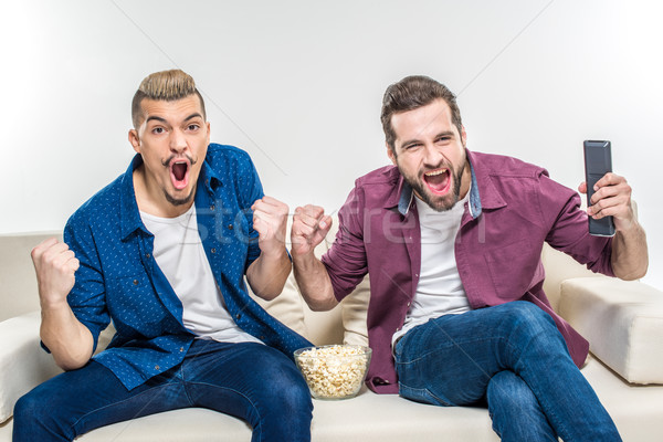Male friends watching tv  Stock photo © LightFieldStudios