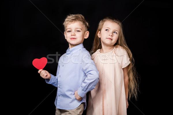 Kids with paper heart Stock photo © LightFieldStudios