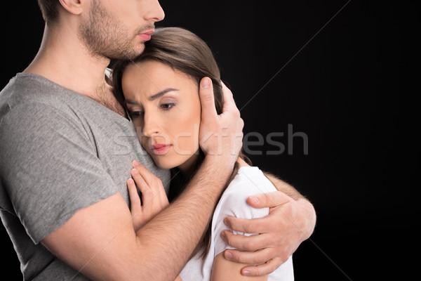 Retrato homem chateado mulher preto Foto stock © LightFieldStudios