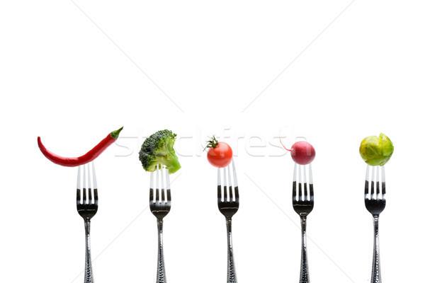 fresh vegetables on forks isolated on white, healthy living concept Stock photo © LightFieldStudios